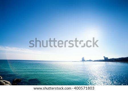 Barceloneta Beach in Barcelona / Paradise tropical wallpaper / sea view