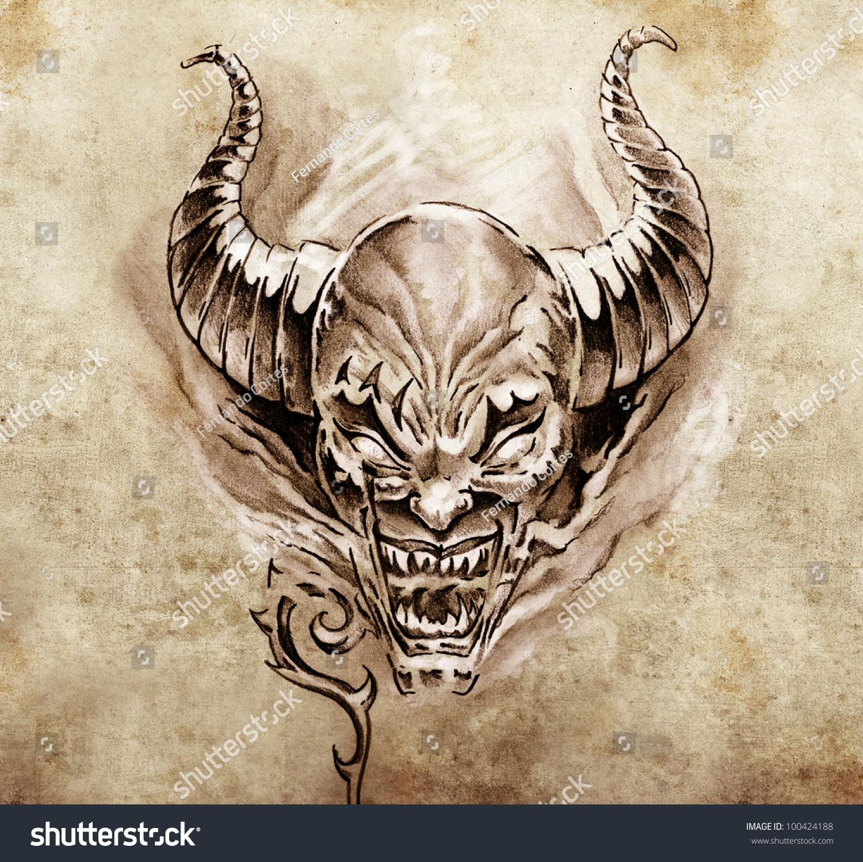 素描的魔鬼大角-背景/素材图片