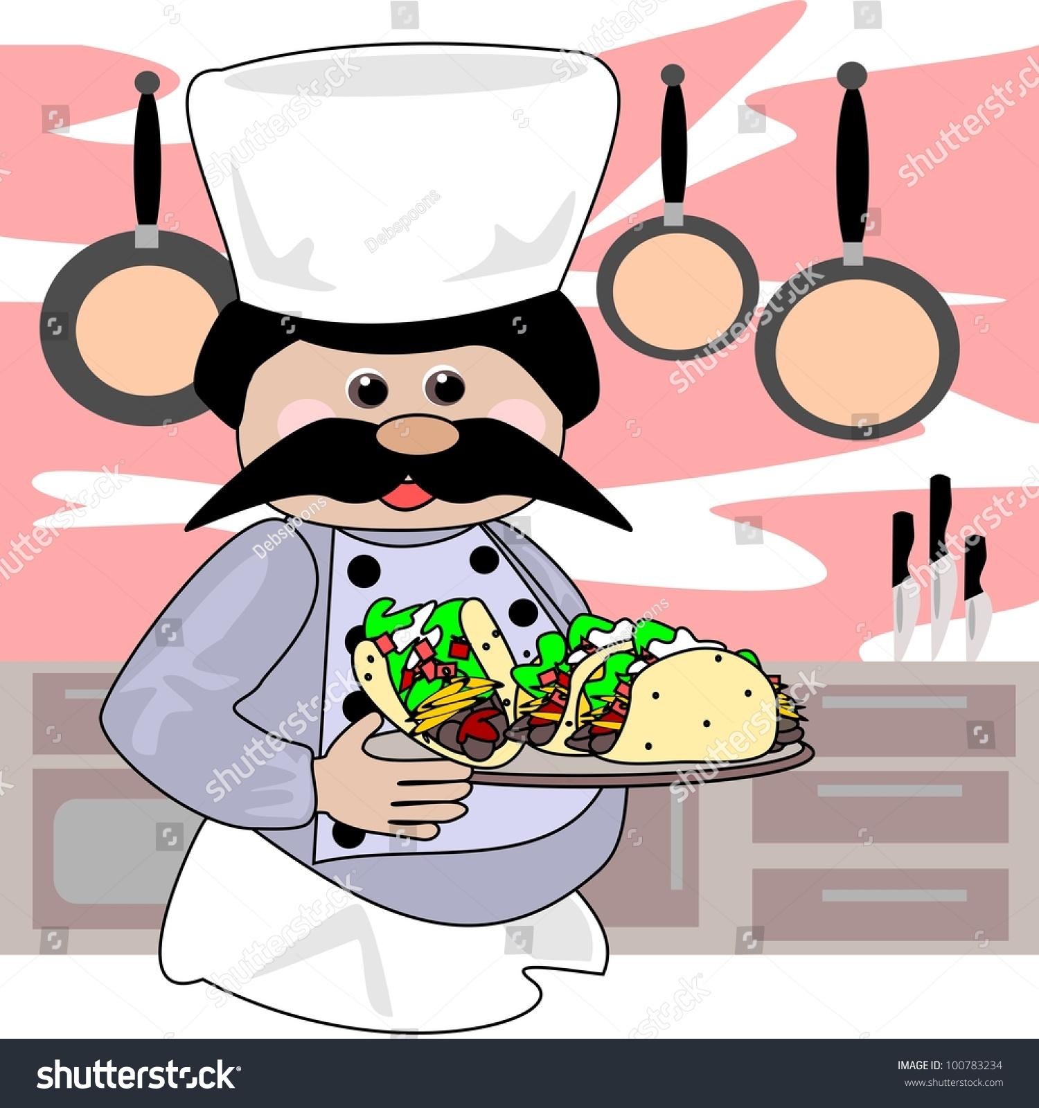 卡通插图的厨师的玉米饼.厨房区域的背景.
