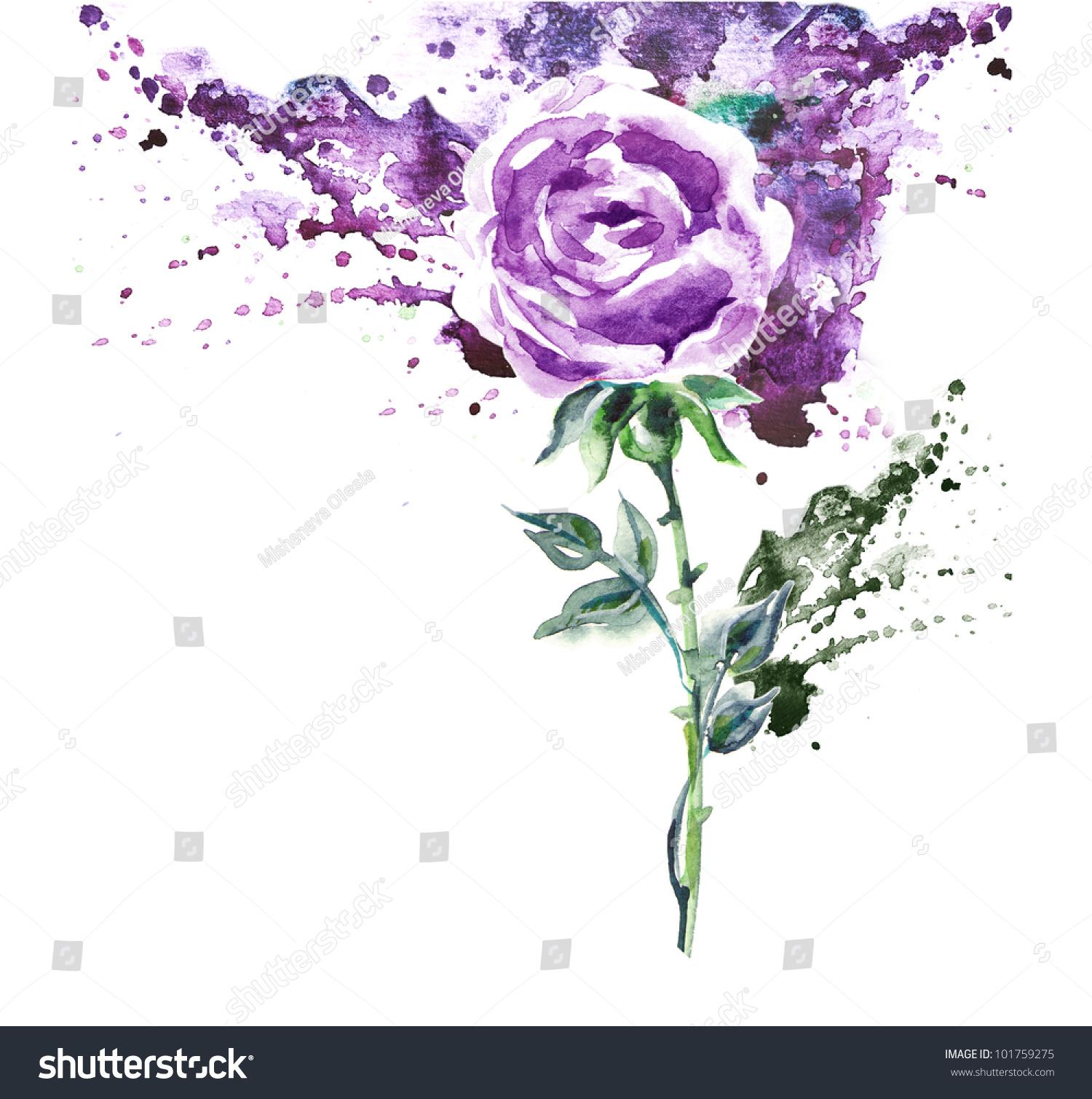 手绘紫玫瑰-背景/素材,抽象-海洛创意(hellorf)-中国