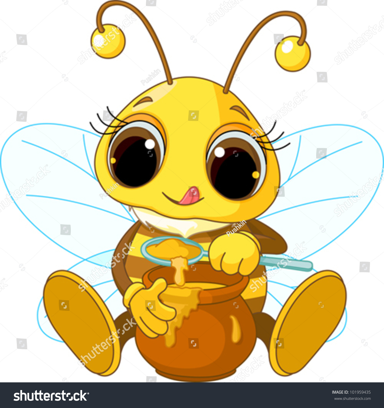 可爱蜜蜂吃蜂蜜的说明-动物/野生生物