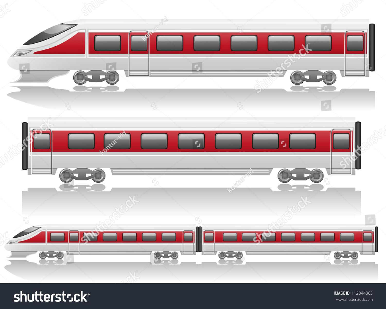 火车机车和货车速度矢量插图孤立在白色背景-交通