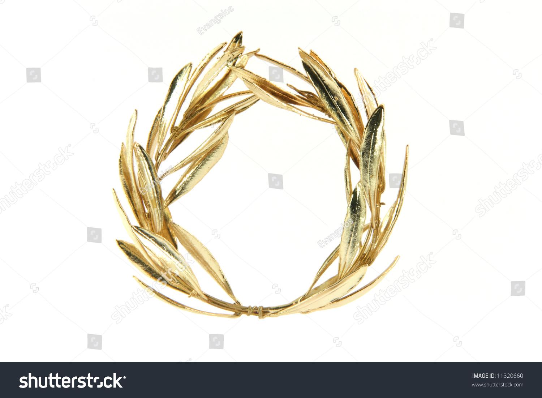 为奥运金牌得主橄榄树花环赢家孤立在白色背景-物体