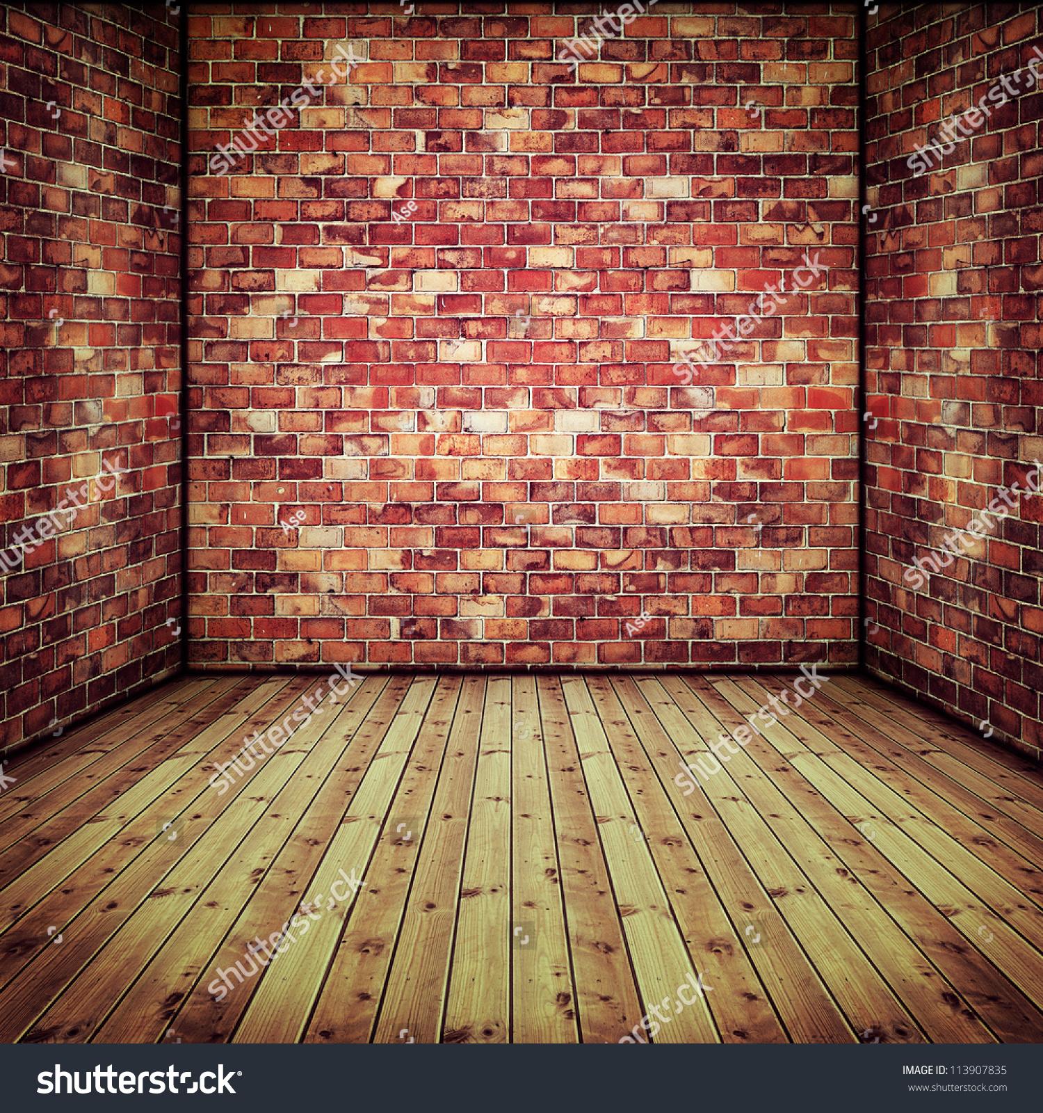 摘要室内老砖墙和木地板-工业