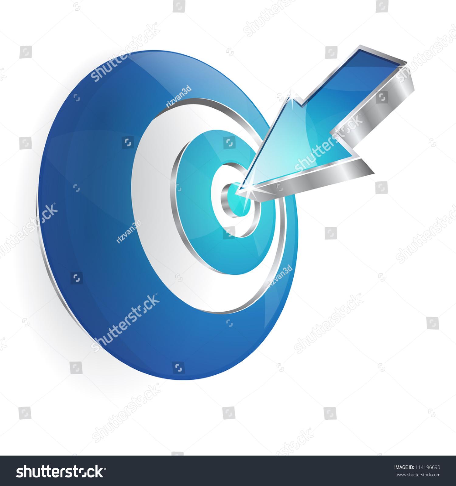 三维目标箭头圆心矢量图标-科技,符号/标志-海洛创意