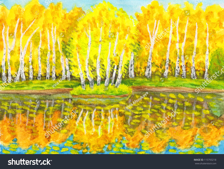手绘图片,水彩画,秋天的风景,画从真正的景观公园在,.