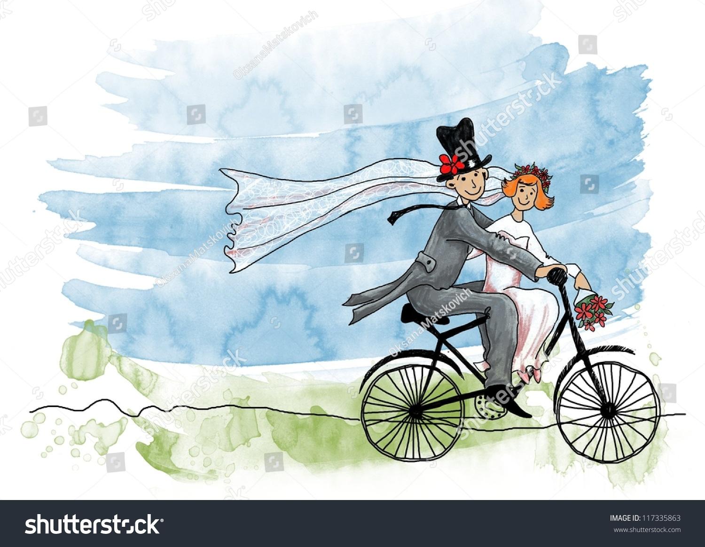 在自行车上新郎和新娘-人物-海洛创意()-合.