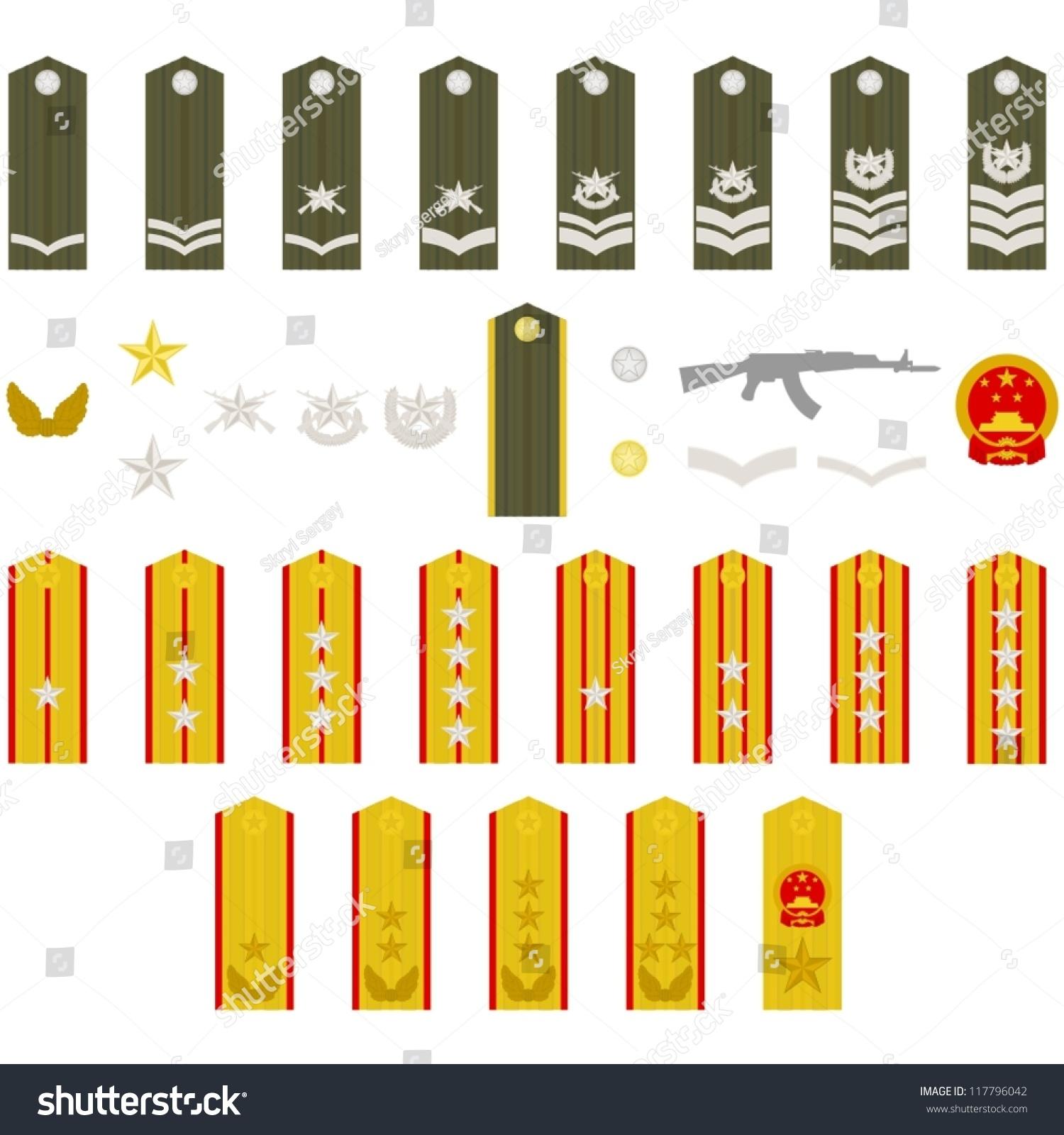 肩饰,军衔和徽章.白色背景图.-工业,符号/标志-海洛()
