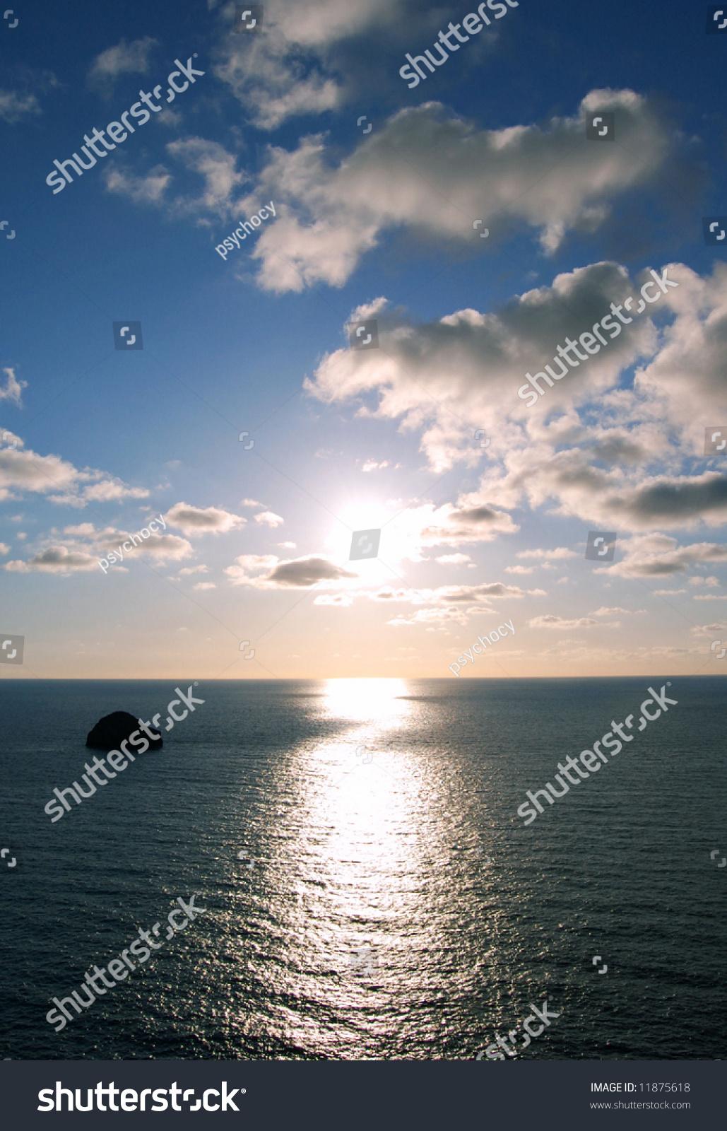 鼓舞人心的日落海洋图片