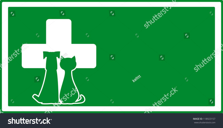 绿色兽医来访背景,狗和猫