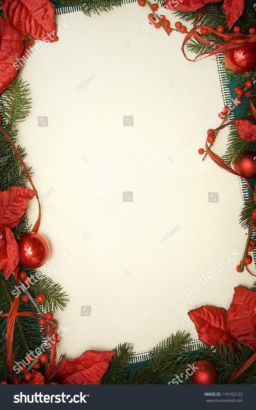 绿色云杉和红色装饰的圣诞装饰品-背景/素材