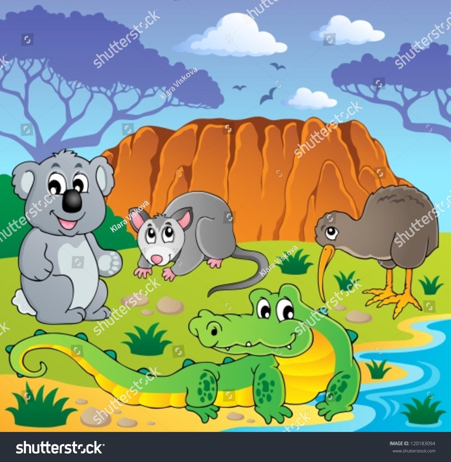 澳大利亚动物主题3 -矢量插图