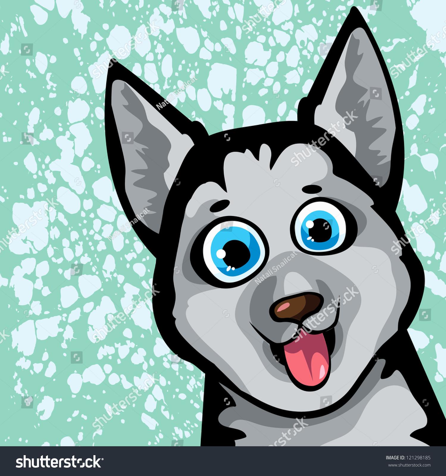 蓝眼睛的卡通有趣的狗(的)发现了背景-动物/野生生物