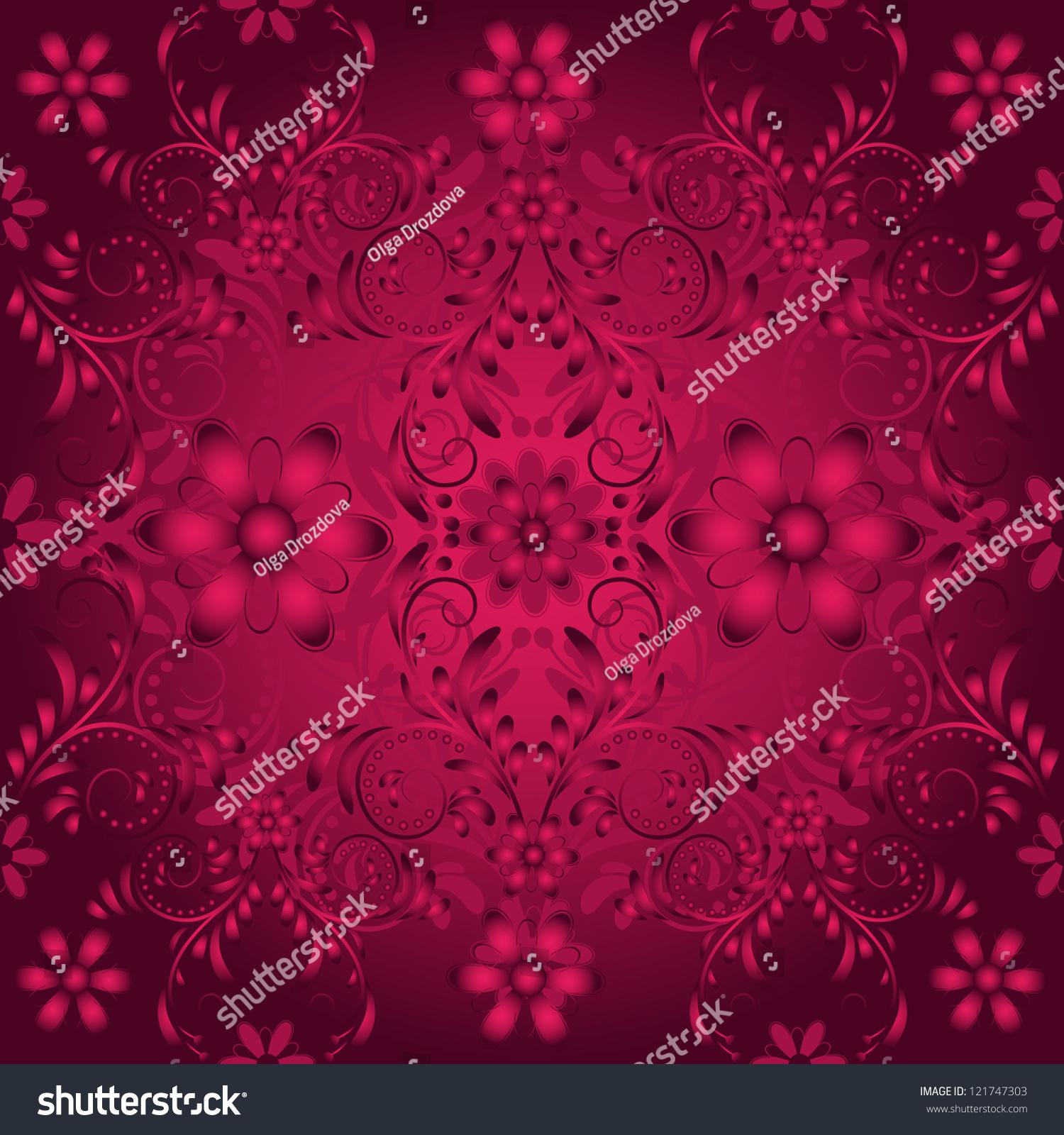 深紫色无缝模式与年份葡萄酒的窗饰-背景/素材,复古