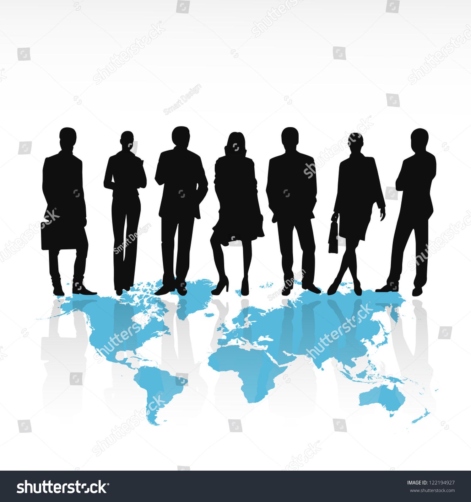 商务人物剪影站在世界地图上孤立在白色背景矢量图