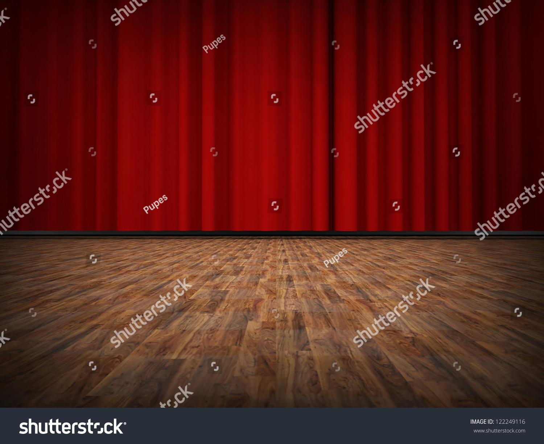 红色的窗帘与木地板-背景/素材