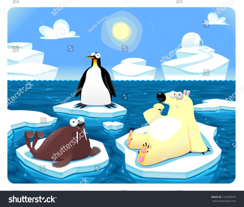 极地的场景.向量和卡通插图-动物/野生生物,自然-海洛