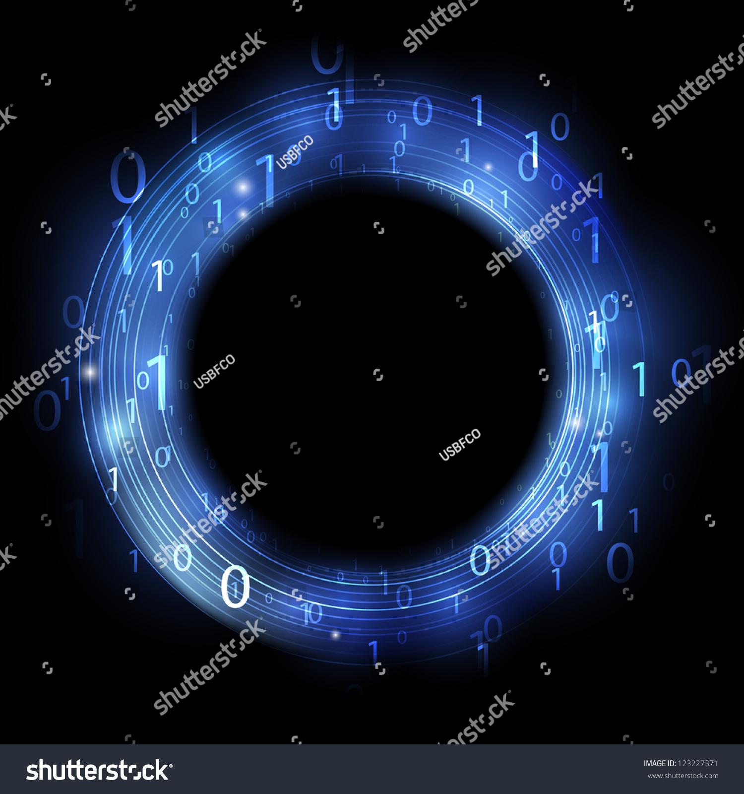 带有二进制码的蓝色环--信息的概念-背景/素材,抽象
