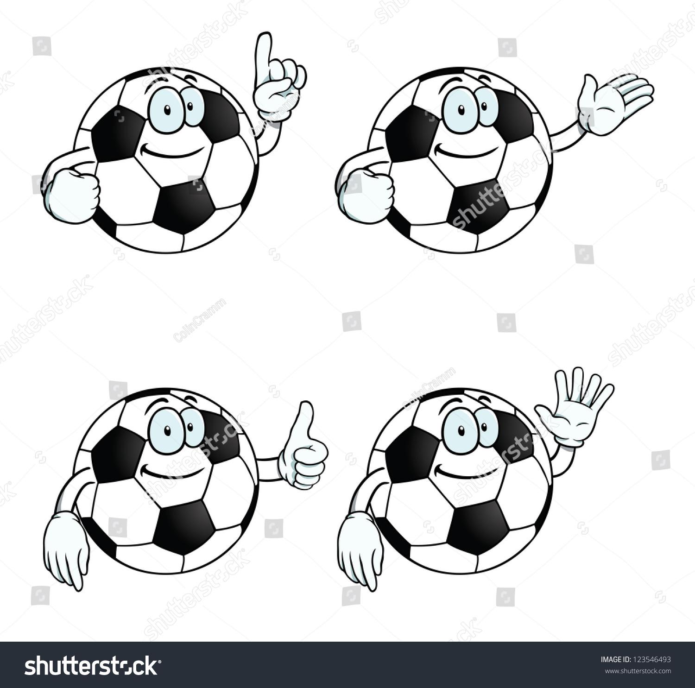 收集微笑的卡通足球各种手势