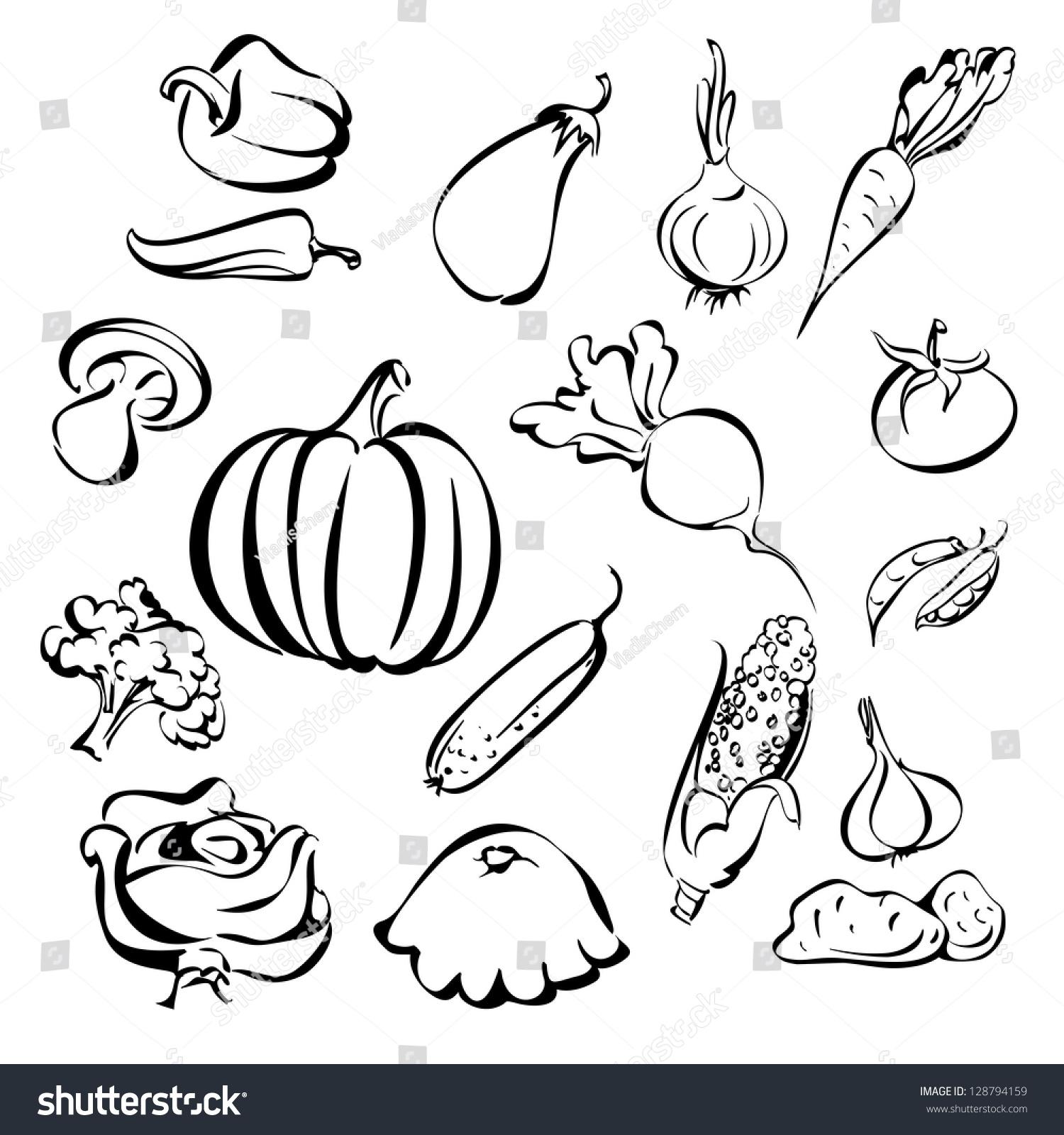 蔬菜图标设置素描矢量插图-食品及饮料