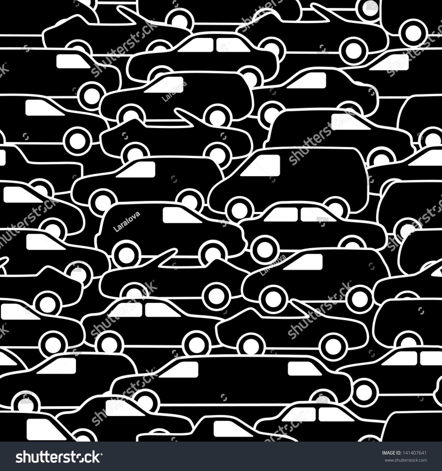 无缝模式与汽车.矢量插图.-交通运输,背景/素材-海洛