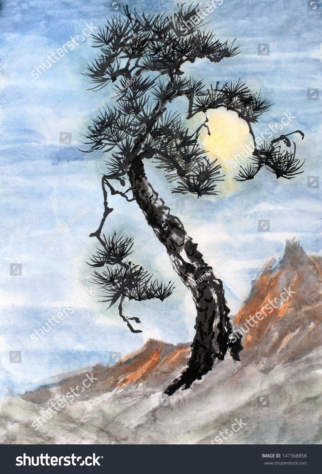 东方风格的原始艺术,水彩画树与满月悬崖-艺术,自然