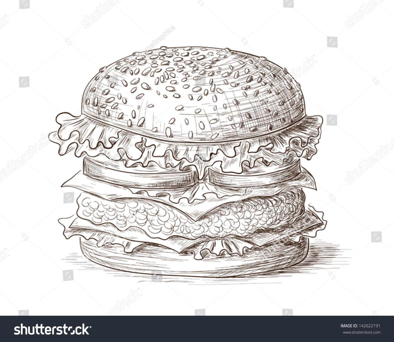 手绘插图的汉堡包.-食品及饮料-海洛创意(hellorf)-.