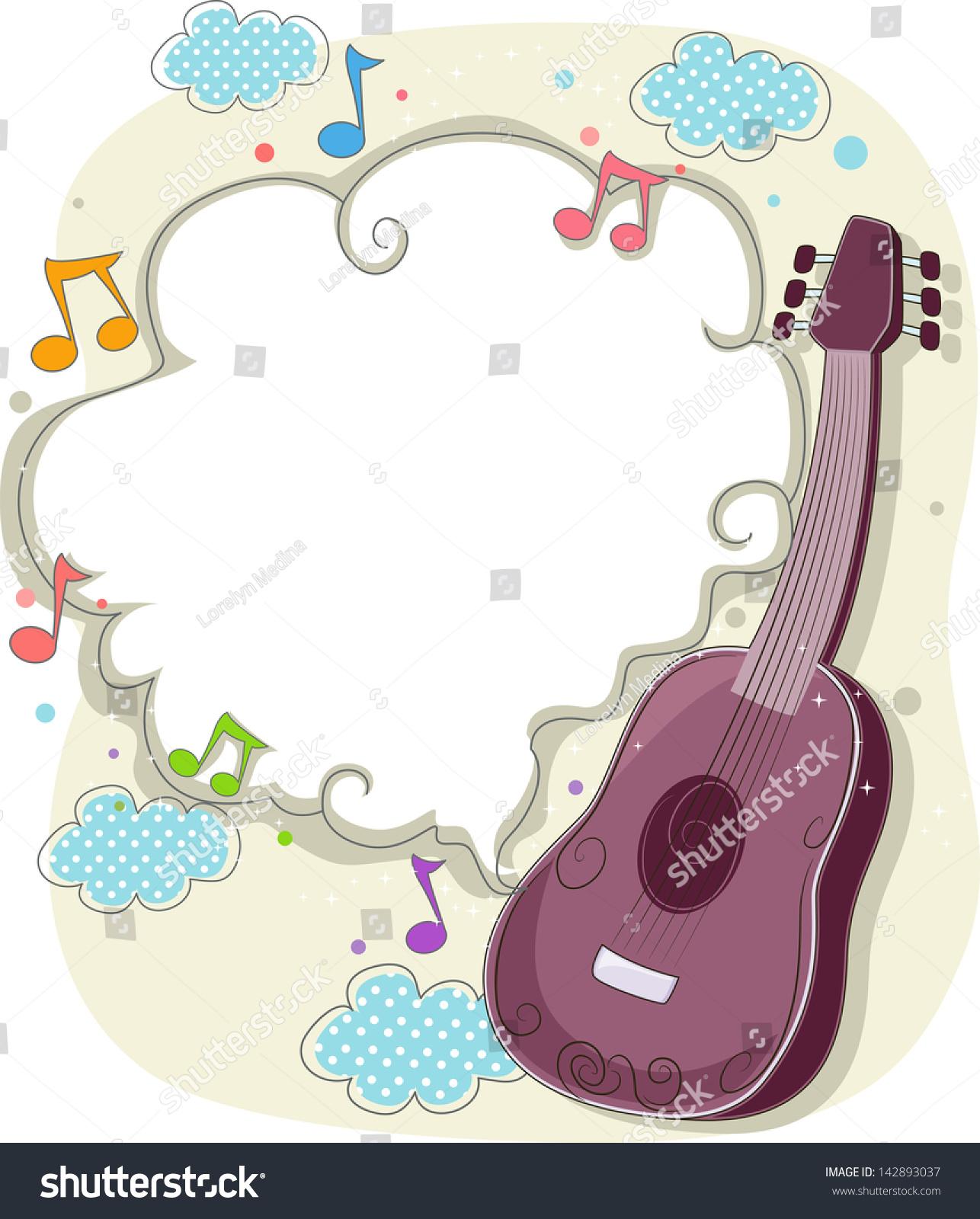 背景插图的吉他音符框架-背景/素材