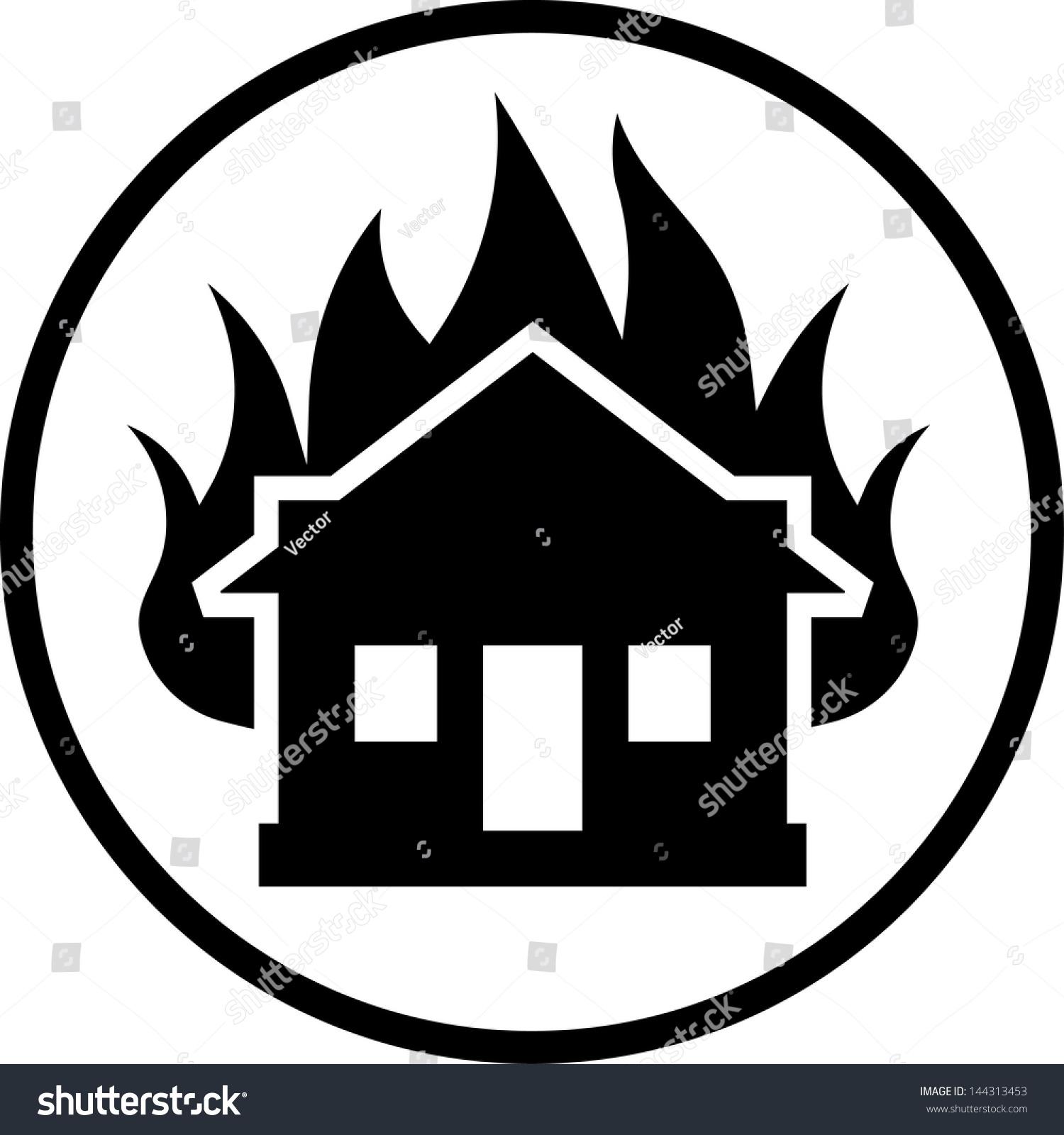 房子着火了矢量图标-建筑物/地标