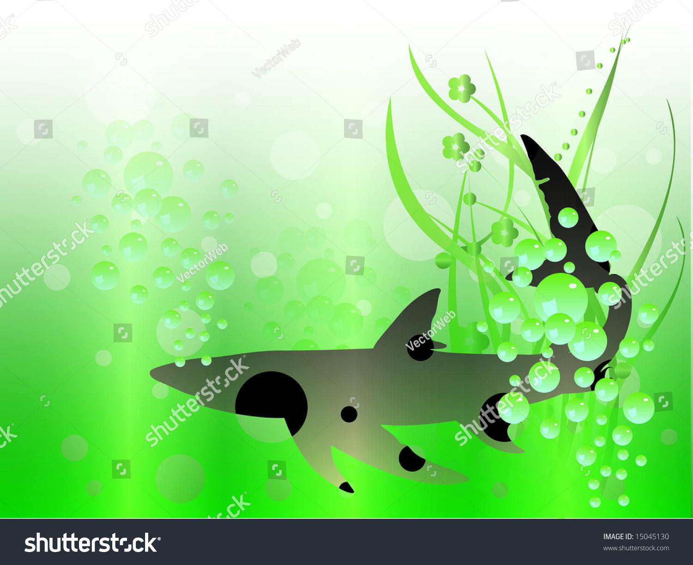 黑色鲨鱼在海洋-向量-动物/野生生物