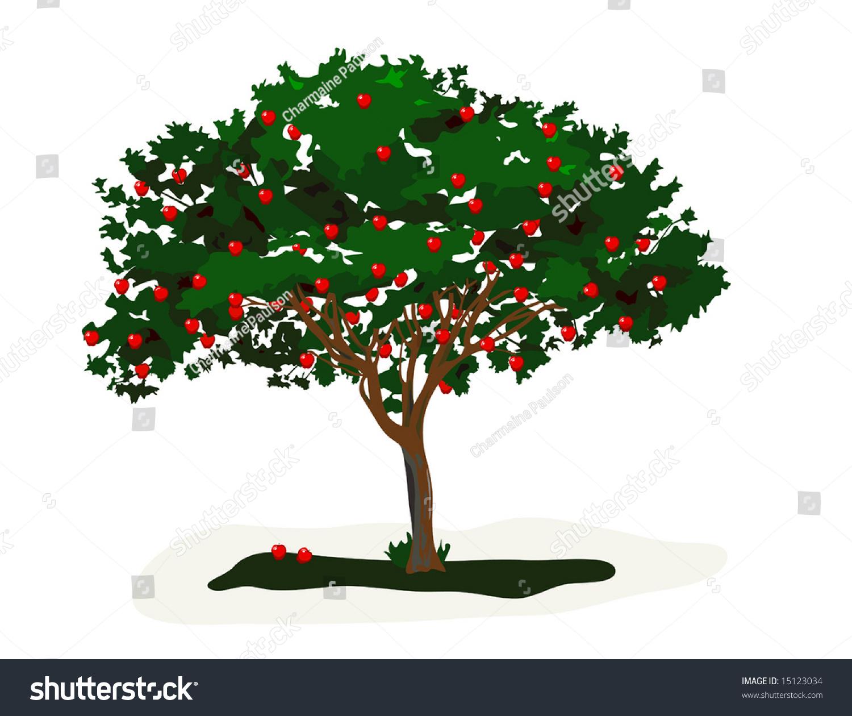 向量苹果树是手绘原创艺术品