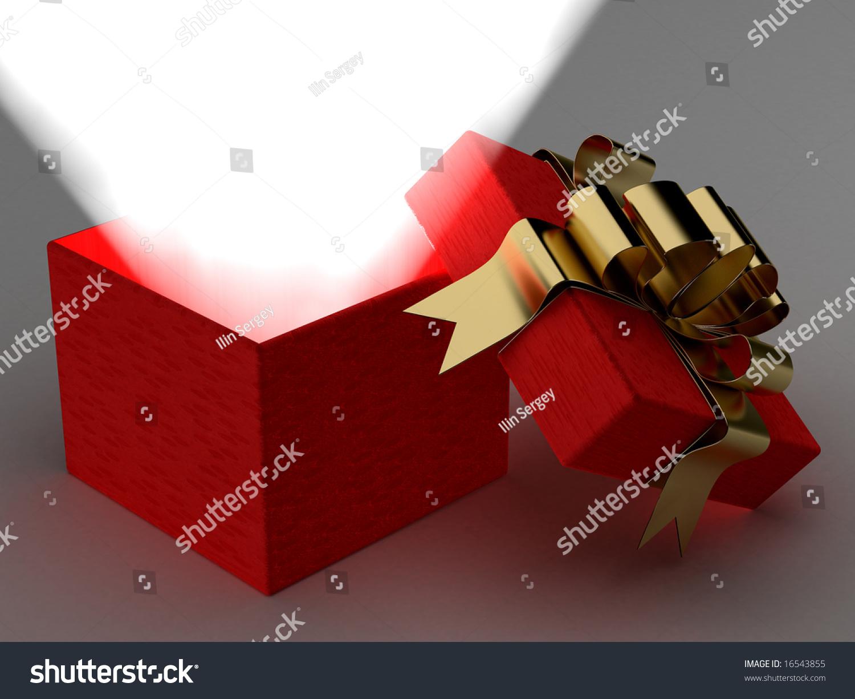 打开礼物盒子的光芒.3 d图像.