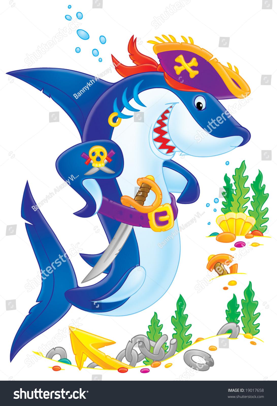鲨鱼海盗(孤立的剪贴画颜色轮廓)-插图/剪贴图,动物