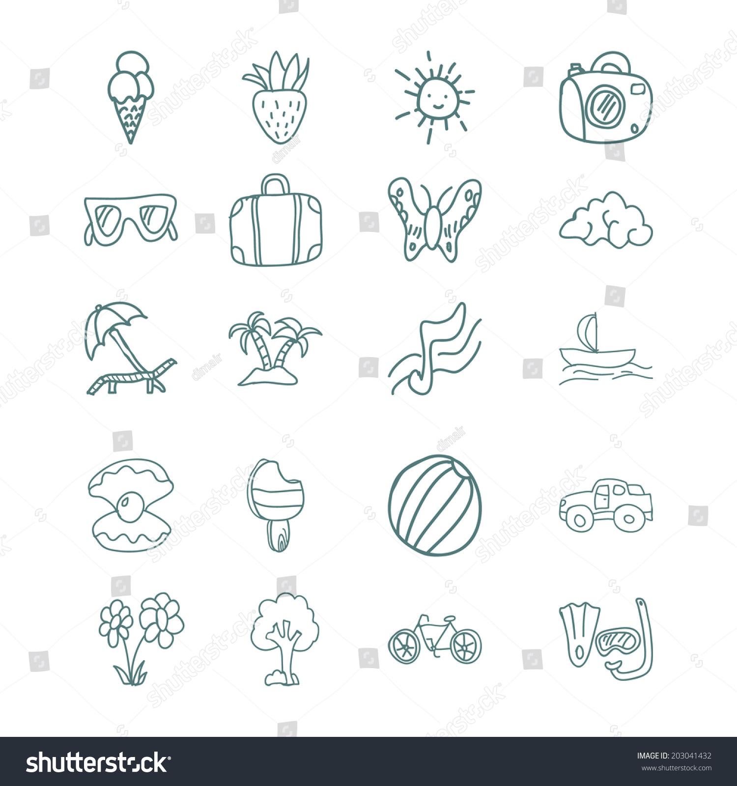 手绘矢量图标集冰淇淋球伞手提箱太阳眼镜蝴蝶微笑云.