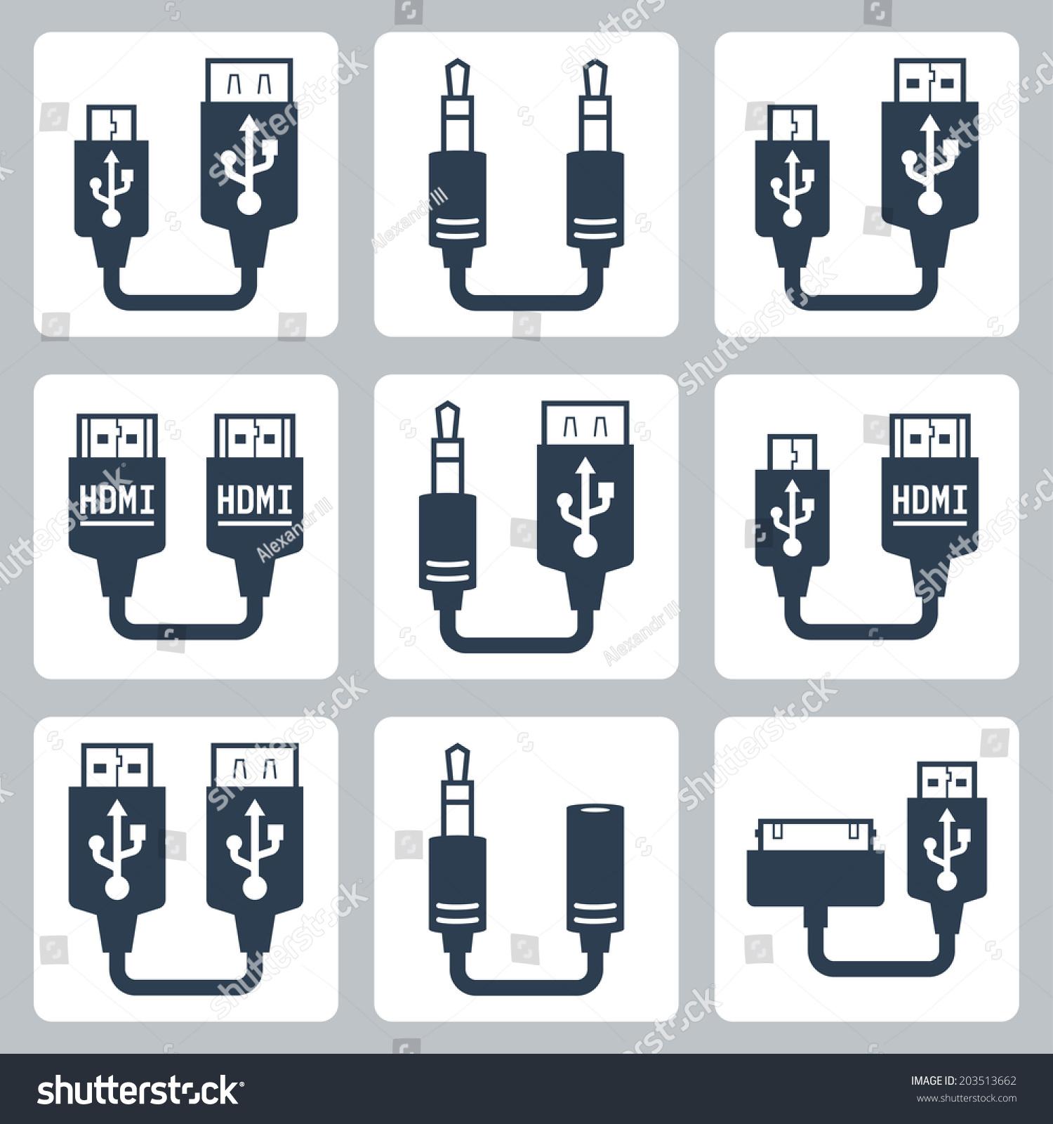 适配器连接器矢量图标集-科技,符号/标志-海洛创意()
