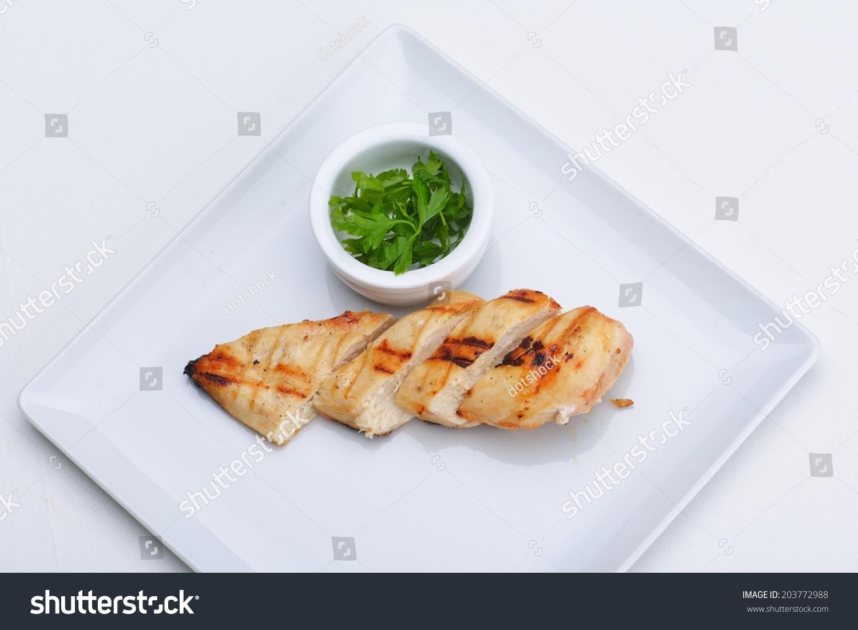 鸡肉烧烤食品肉类切片白底-背景/素材,食品及饮料-()