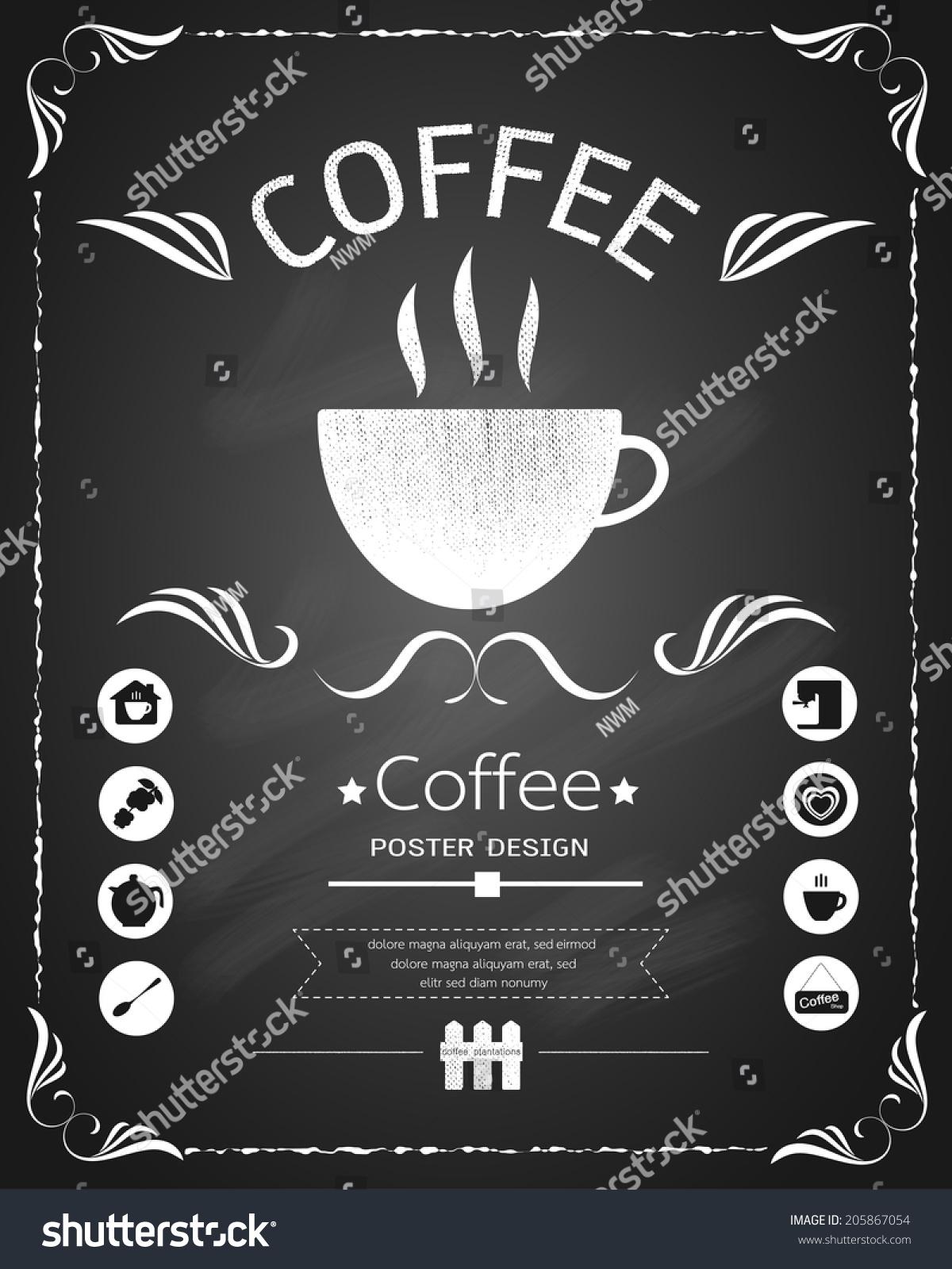 咖啡菜单黑板设计-食品及饮料,抽象-海洛创意(hellorf