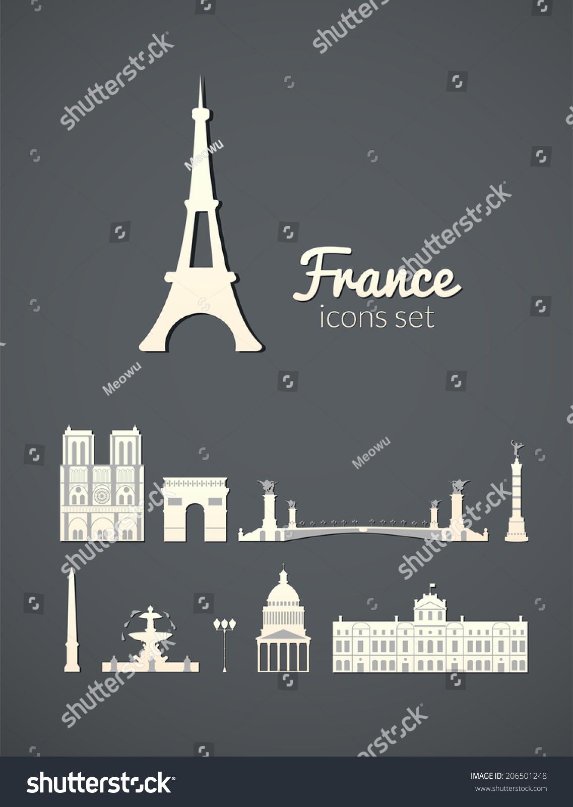 巴黎的地标,灰色优雅背景的矢量简单白图标-建筑物