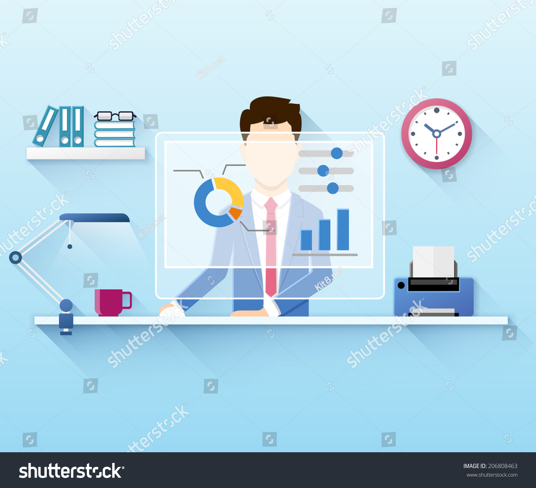 办公人员使用计算机的平面矢量图-商业/金融