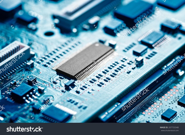特写的电子电路板与处理器-工业