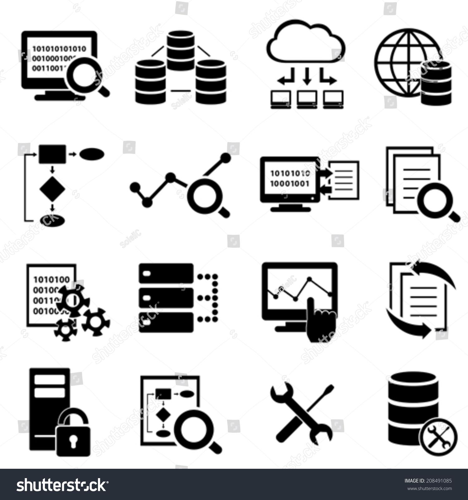 大数据,云计算技术的图标集-科技,符号/标志-海洛创意