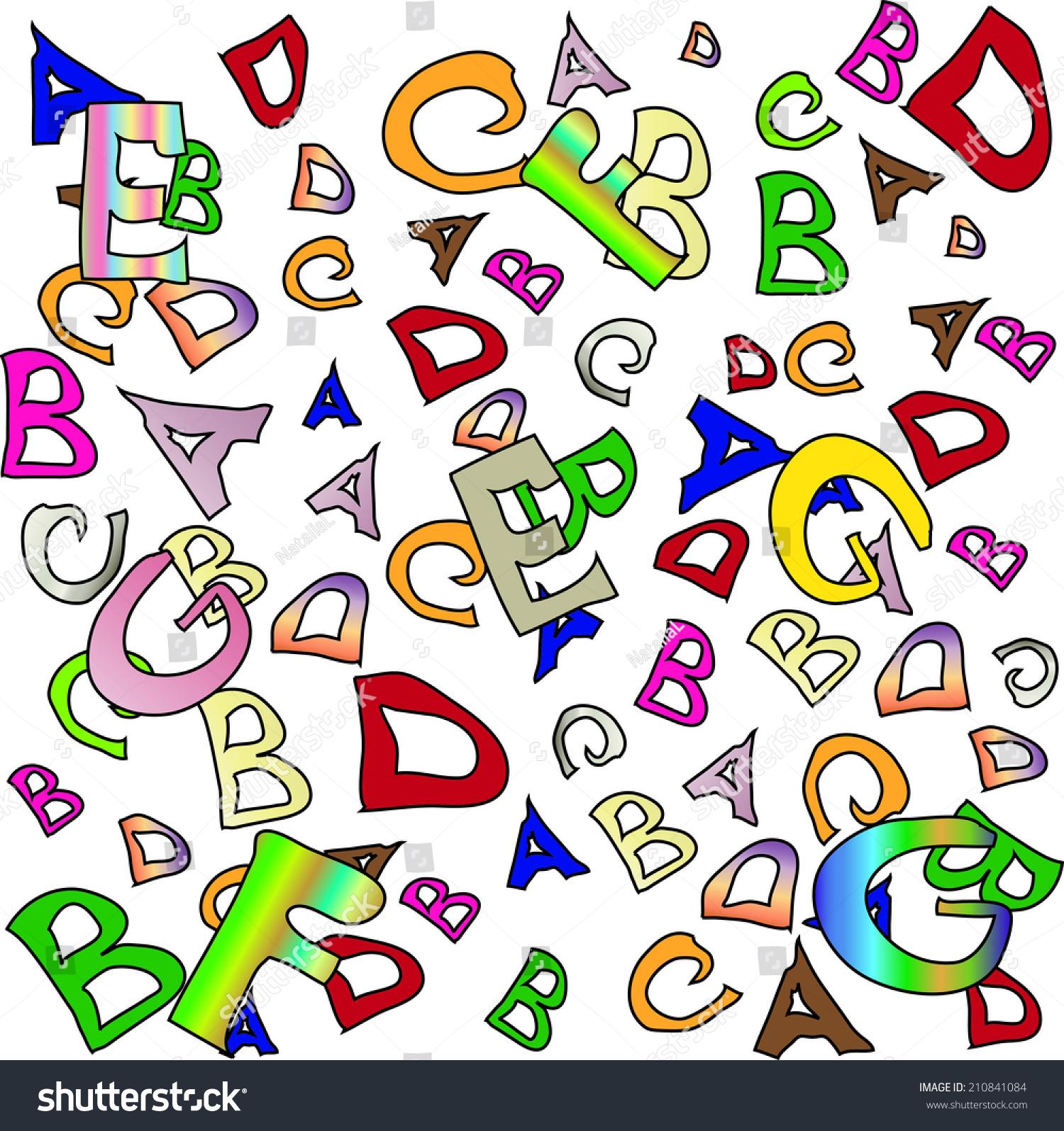 拼贴和五彩缤纷的英文字母-背景/素材