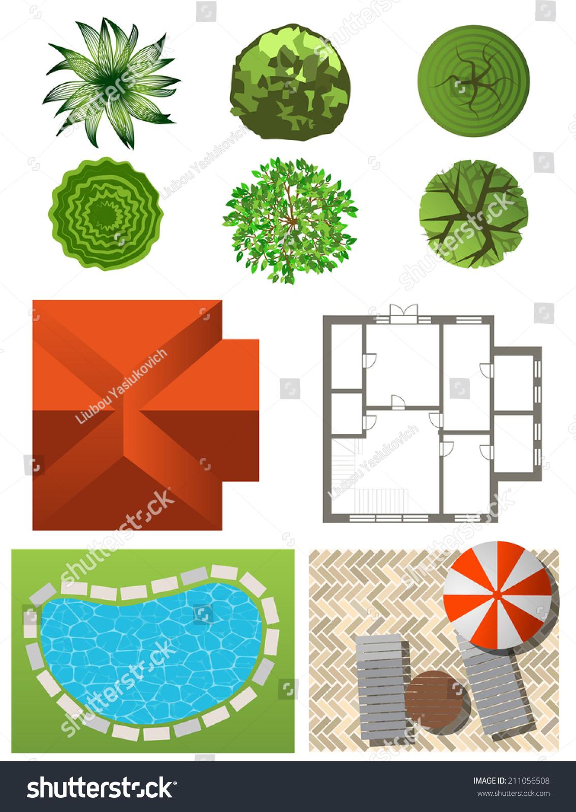 详细的景观设计元素.自己做计划.俯视图