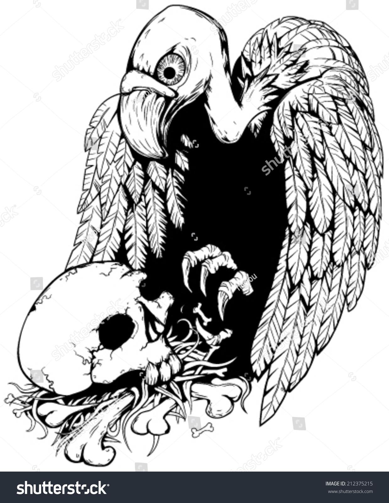 头骨秃鹰黑白向量垂直,孤立-动物/野生生物,假期-海洛