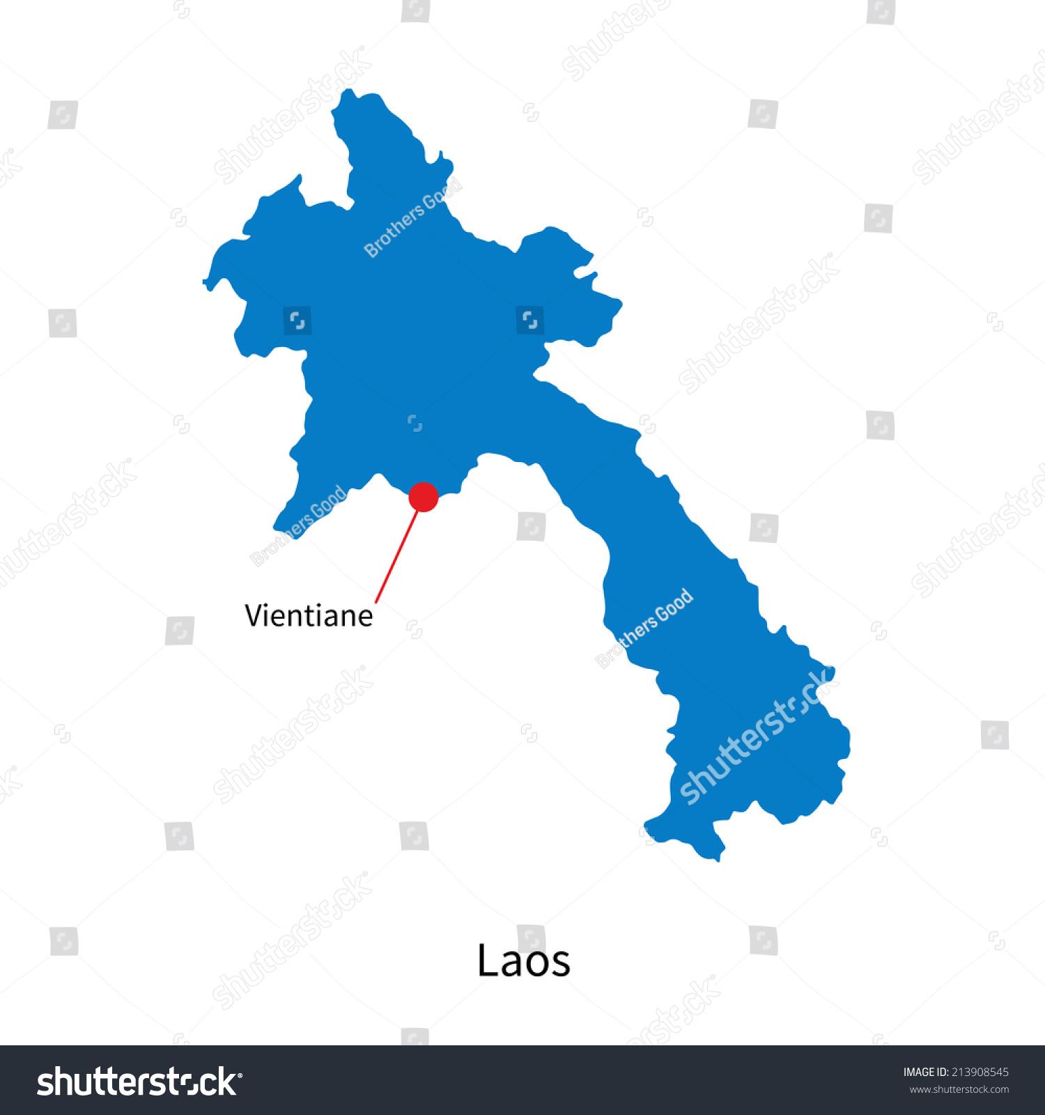 详细的矢量地图的老挝首都万象