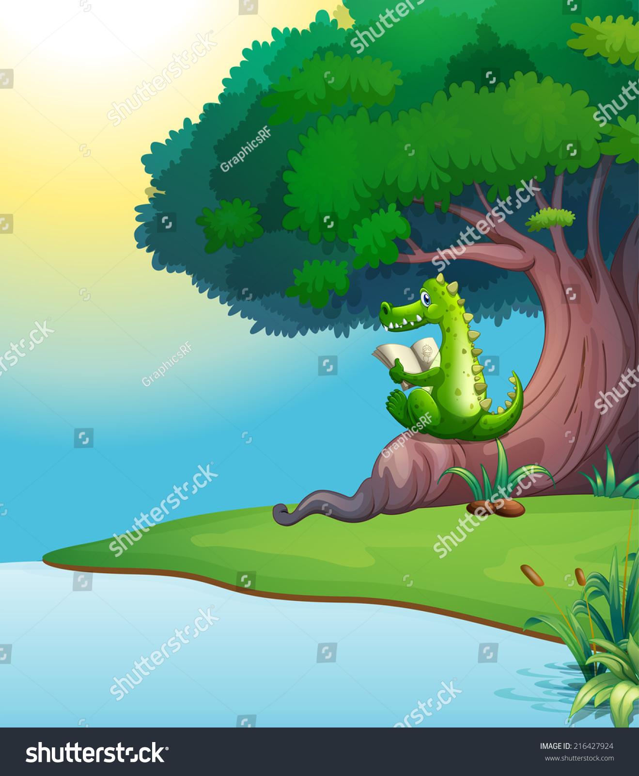 插图的鳄鱼在树下看书-动物/野生生物-海洛创意()-合