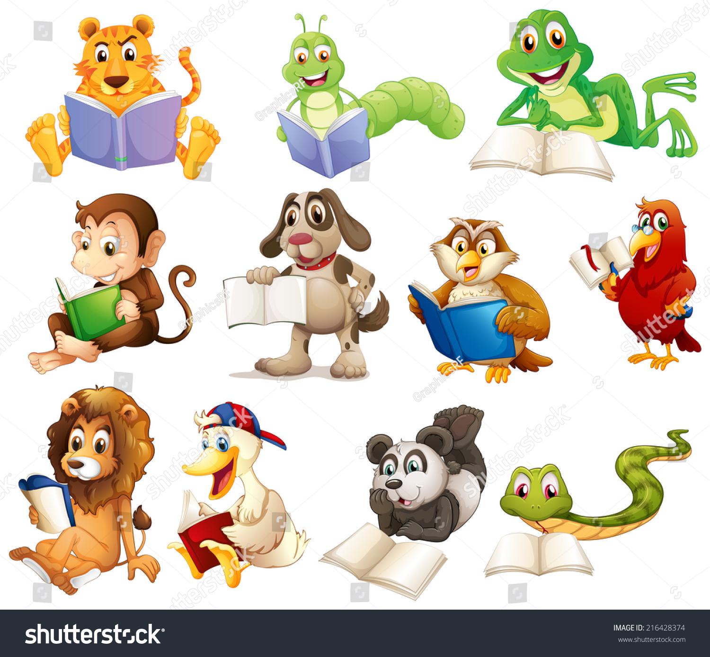 一组动物阅读背景的说明-动物/野生生物-海洛创意()