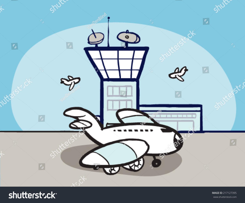 飞机卡通机场-交通运输