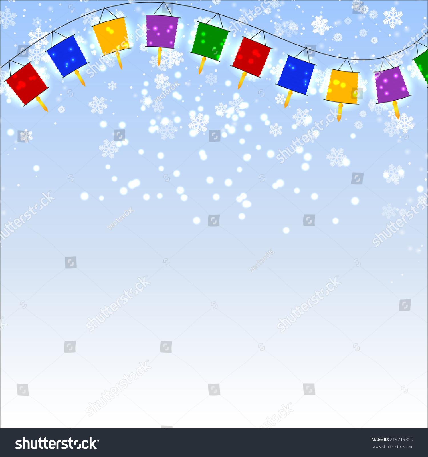 冬天的蓝色背景雪花和红灯笼的花环.矢量插图