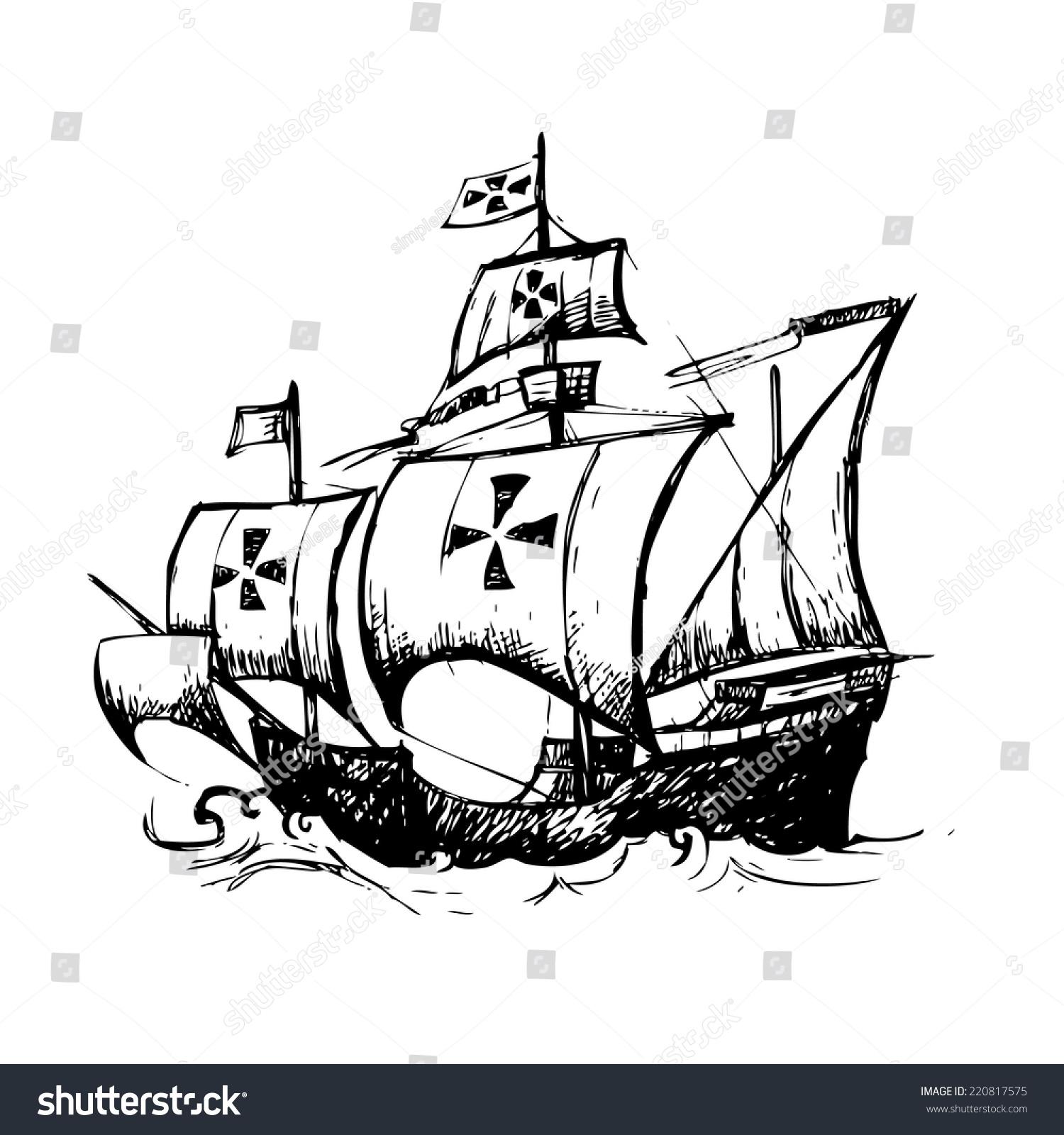 哥伦布船由铅笔手绘,用于哥伦布日-交通运输,假期-()